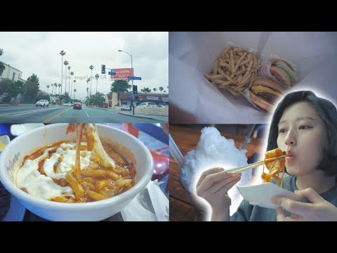 [FOOD VLOG] What I ate in California Day 1! Spicy Rice cakes, In-N-Out Burger, Mocha Igloo Latte