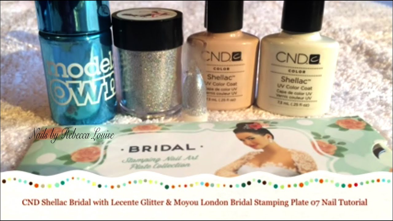 Cnd Shellac Bridal Nails With Lecente Glitter Moyou London Bridal