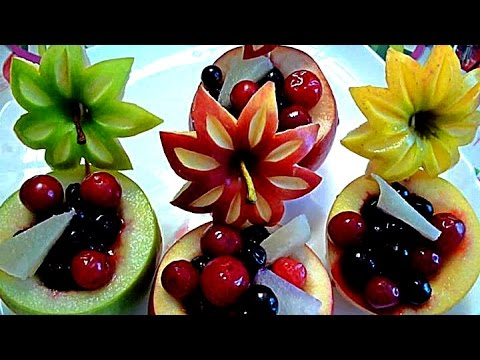 8 LIFE HACKS HOW TO CARVE APPLE - ART IN APPLE & FRUITS CARVING - APPLE GARNISH