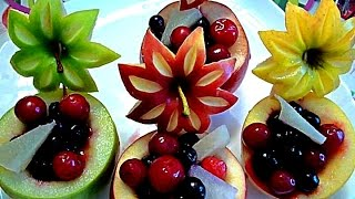Repeat youtube video 8 LIFE HACKS HOW TO CARVE APPLE - ART IN APPLE & FRUITS CARVING - APPLE GARNISH