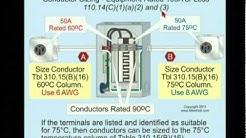 NEC 2011 Conductor Size -- Terminal Temperature Rating 110.14(C) (13min:05sec)