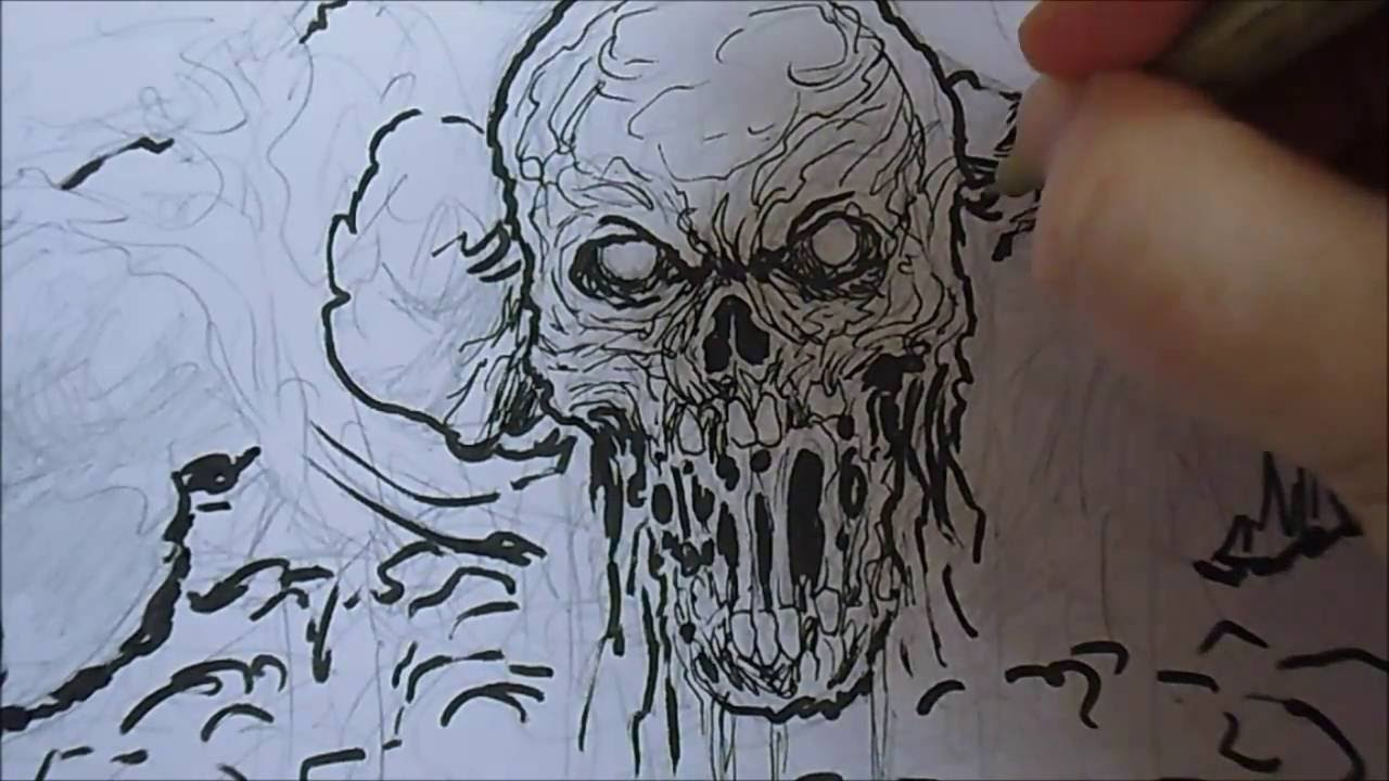 Sketching zombie corpse with pencil and ink