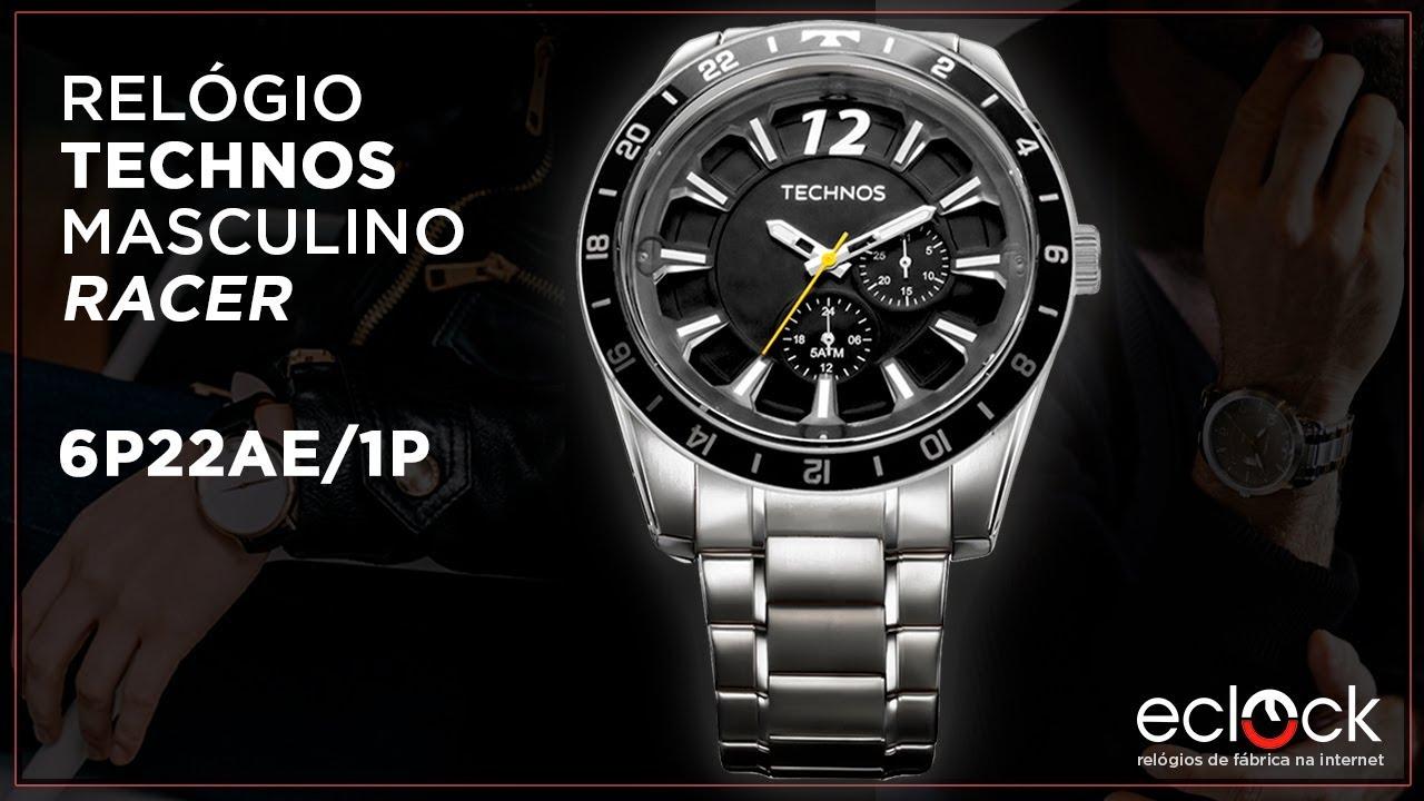 39a52bb876cc4 Relógio Technos Masculino Racer 6P22AE 1P - Eclock - YouTube