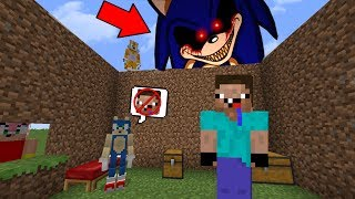 Noob vs creepypasta house sonic.exe minecraft troll + roleplay