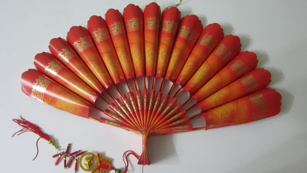 Cny tutorial no 23 red packet hongbao paper fan new for Ang pow decoration craft work
