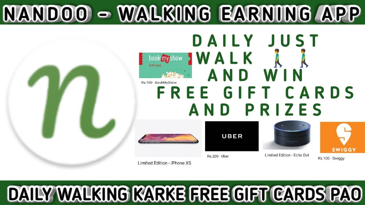 NANDOO - INDIA'S ONLY APP THAT REWARDS YOU TO WALK || FREE GIFT CARDS ||  REAL PRIZES