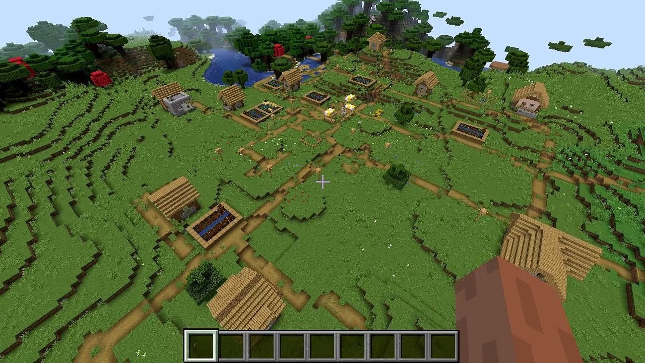 Minecraft 1 14 Seed 157: Huge village at spawn and buried temple