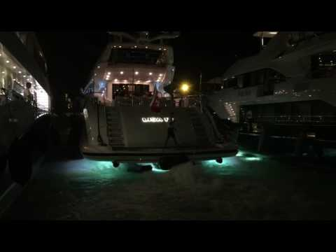 LISA IV OVERMARINE 46m LEOPARD DOCKING IN MARINA IBIZA