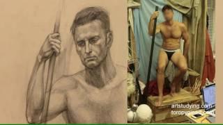 Длительный рисунок мужской сидящей(6). Обучение рисунку.Фигура. 89 серия.
