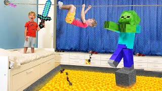 MINECRAFT in real life Lev and Gleb play the FLOOR is LAVA ?