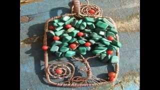 ❤ Красивые кулоны и подвески Дерево жизни или Дерево счастья из бисера, бусин и проволки