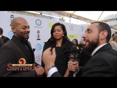 """Power"" Creator Courtney Kemp and ""Hamilton"" Actor Brandon Victor Dixon at the NAACP Image Awards"