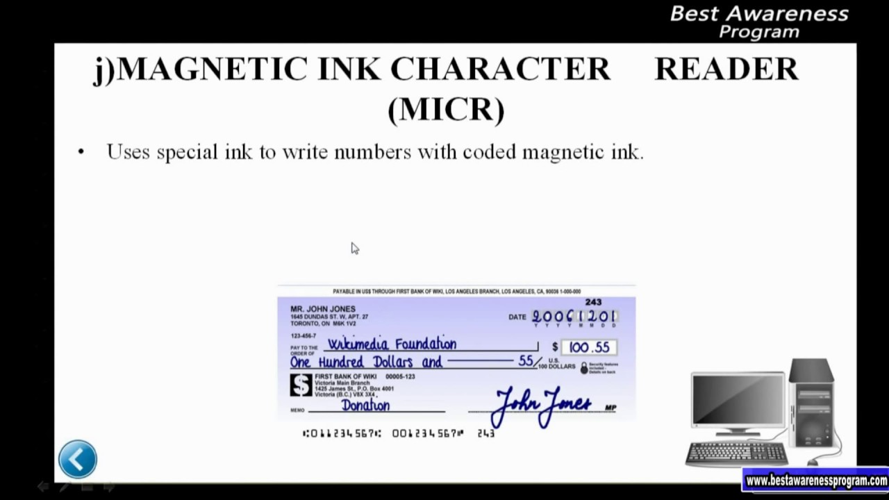 Hardware and Software: Types of input device- Magnetic Ink Character Reader  Part 39 of 3rd term