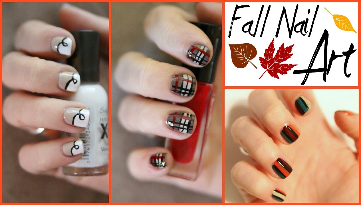 Fall Series: Three Simple Autumn Nail Art Designs - YouTube