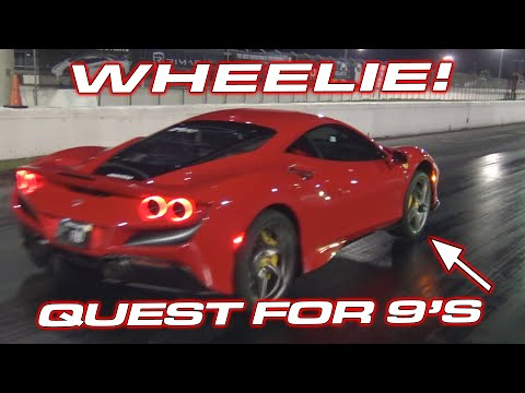 F8 WHEELIE! * STOCK Ferrari F8 Tributo lifts the front in the quest for 9's