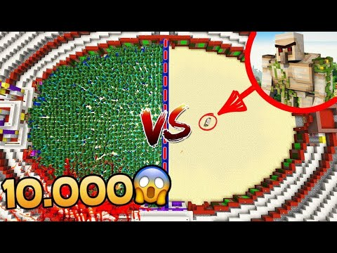 10.000 ZOMBIE VS 1 GOLEM DE FER GEANT !! OMG ! Troll Minecraft FR ! EXPERIENCE SOCIALE MINECRAFT !