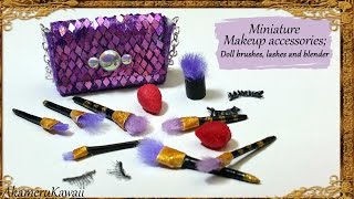 Miniature Makeup accessories; Brushes, Beauty blenders & False lashes - Polymer Clay Tutorial