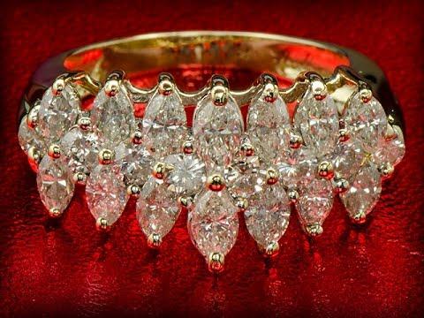 Кольцо из золота с россыпью бриллиантов 3.20 карат