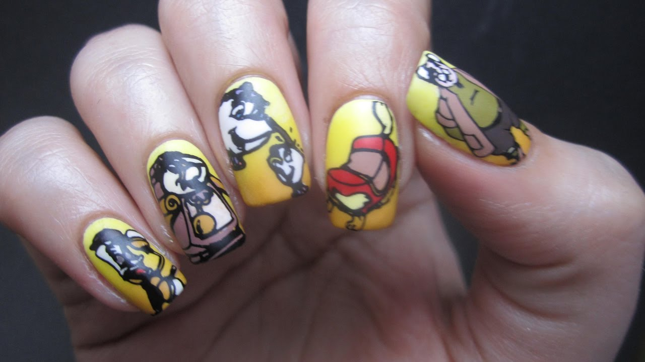 Beauty The Beast Bbf Reverse Stamping Decal Nail Art Tutorial