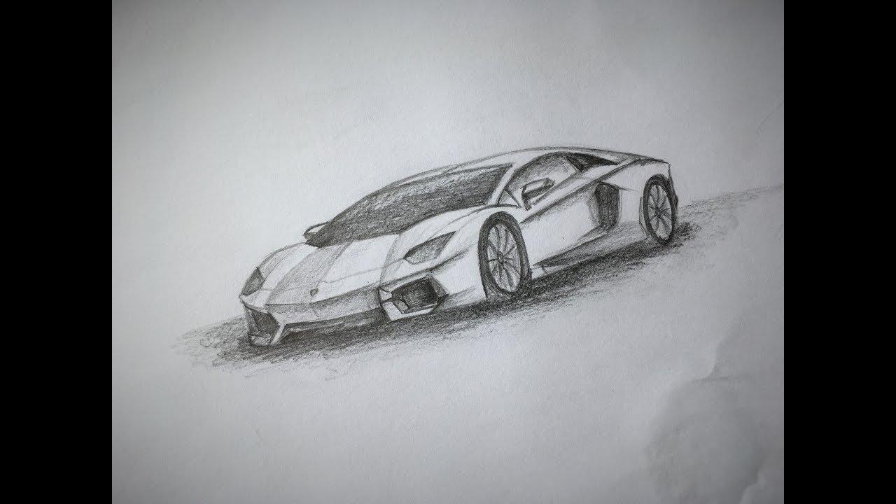How to draw a Lamborghini Aventador - YouTube