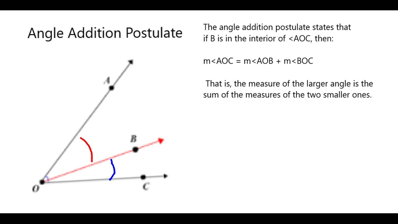 worksheet Angle Addition Postulate angle addition postulate youtube
