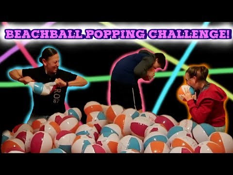 EXTREME BEACHBALL POPPING CHALLENGE! (The loser has to eat 10 cat treats!) thumbnail