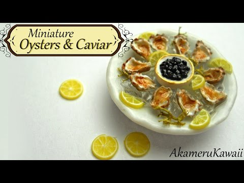 Miniature Oysters & Caviar - Polymer clay tutorial