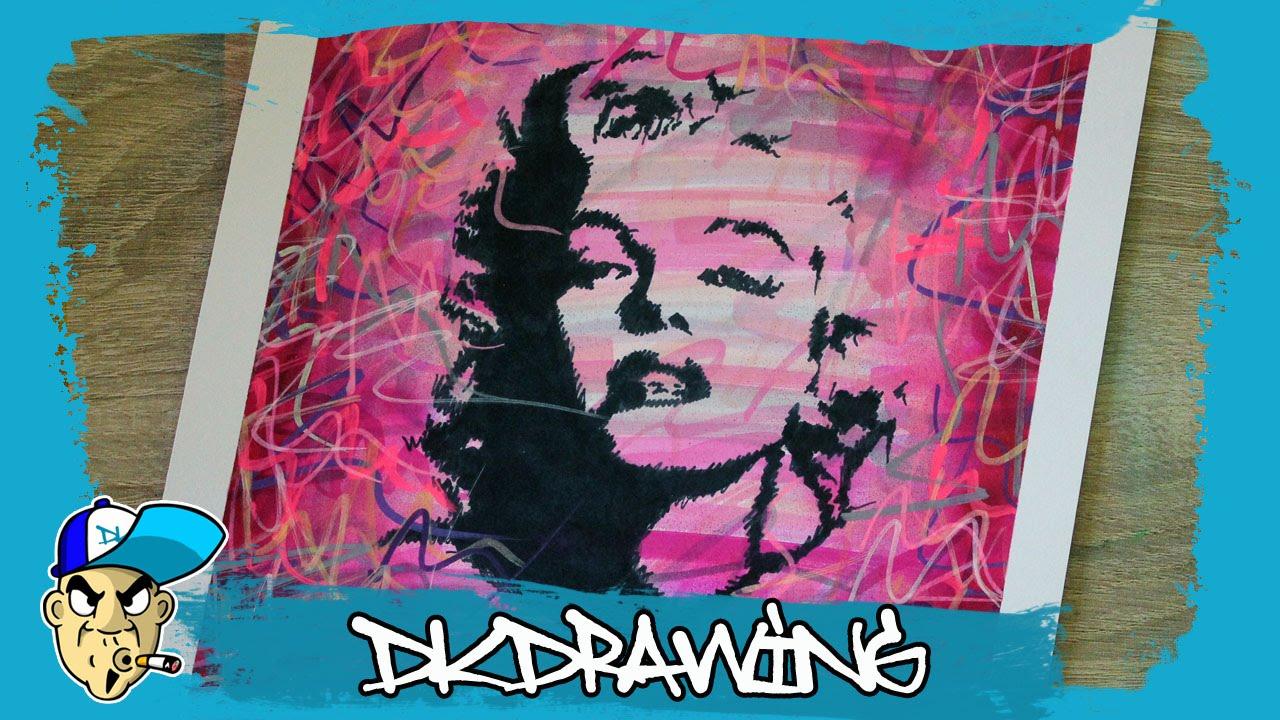 Drawing marilyn monroe graffiti stencil pop art style youtube