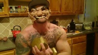Crazy Tattood Bodybuilder Cooks Bacon Baked Beans.