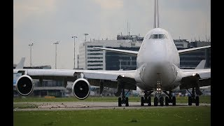 Qatar Airways B777 ,  KLM B777 & Saudia Cargo B747 departing Schiphol Airport
