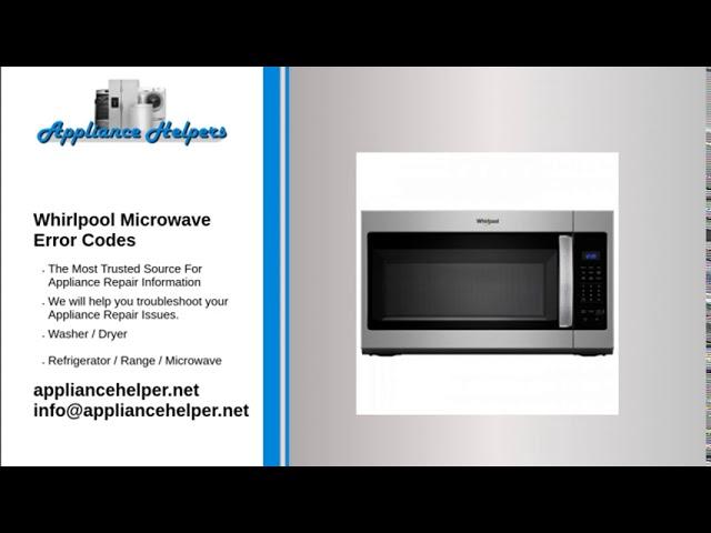 whirlpool microwave error codes youtube