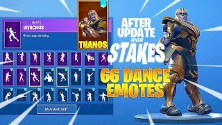 Fortnite Dance Emotes after High Stakes Update with THANOS Skin - 66 Fortnite Emotes Showcase Fortnite Dance Emotes