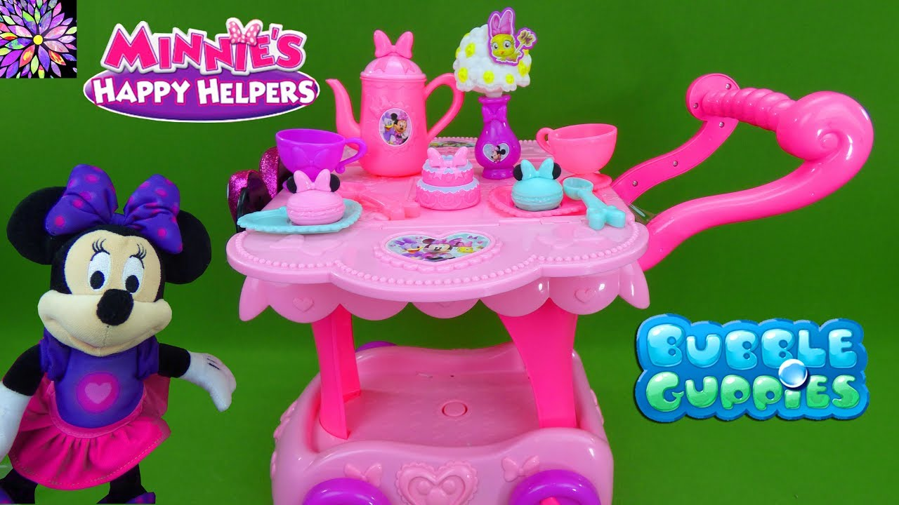 superior New Minnie Mouse Toys Part - 16: Minnie Mouse Toys! Minnieu0027s Happy Helpers Tea Party Cart Play Set Molly  Bubble Guppies Girl Toys!