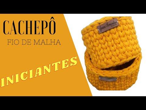 INICIANTES/ CACHEPÔ ECONÔMICO E FÁCIL. FIO DE MALHA. CROCHÊ