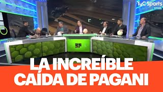 ¡QUÉ SUSTO! La espectacular caída de Horacio Pagani en medio de Estudio Fútbol