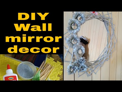 DIY Wall Silver Mirror With Barbeque Stick And Artificial Flower