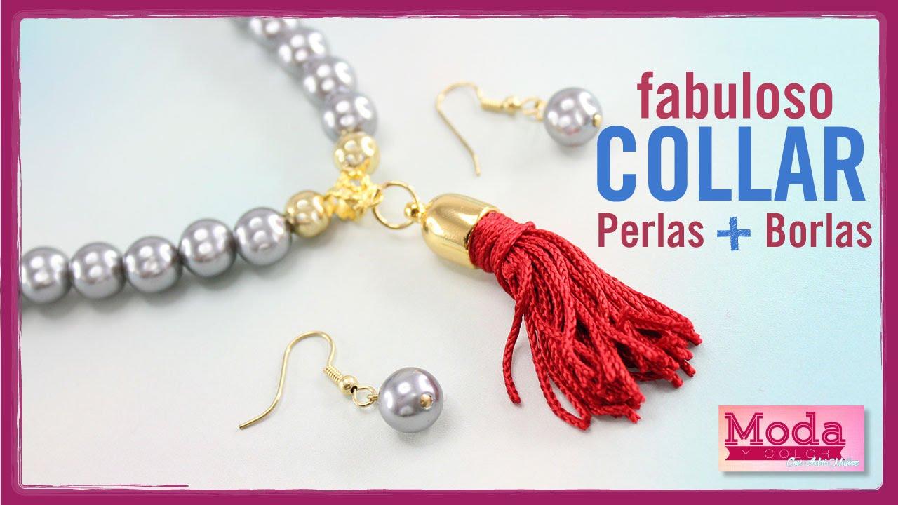 7246b631ea5d Como hacer collar perla gris borla roja Kit 19979 - YouTube