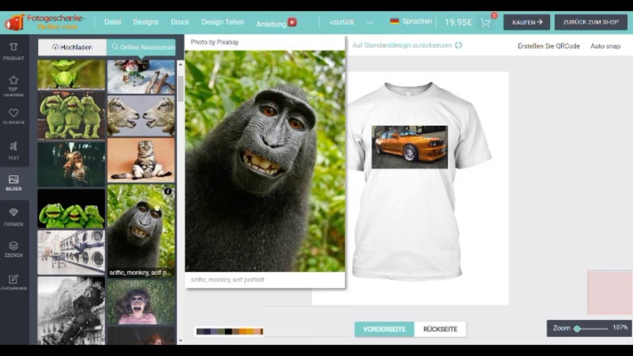 Fotogeschenke Online T Shirt Selbst Gestalten Leinwand Aufkleber Caps Designer Anleitung