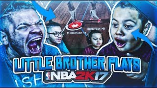 9 YEAR OLD BROTHER PLAYS NBA 2K17 MYPARK! HE SCORED 14 POINTS AND STARTED TRASH TALKING! NBA 2K17 😱