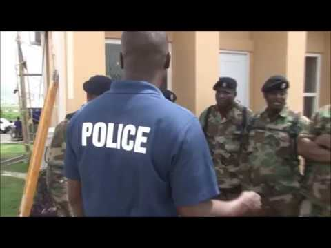 Royal St. Christopher and Nevis Police Force Officers head t