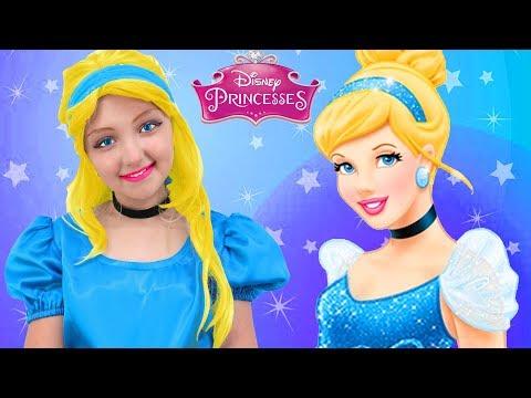 Kids Makeup Cinderella Disney Princess Elsa Pretend Play with Toys & Real Princess Dress & Costume
