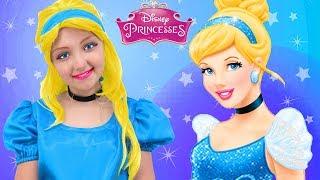 kids makeup cinderella disney princess anna pretend play with toys real princess dress costume