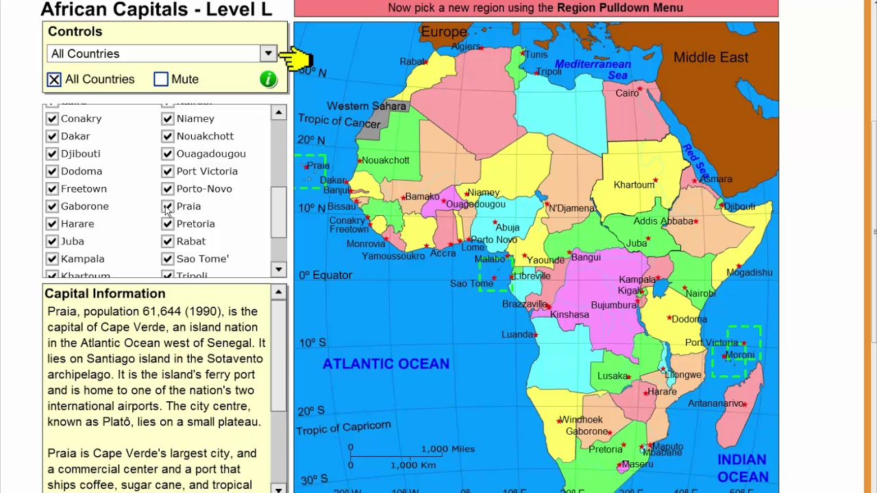 Learn The Capitals Of Africa Geography Tutorial Game Learning