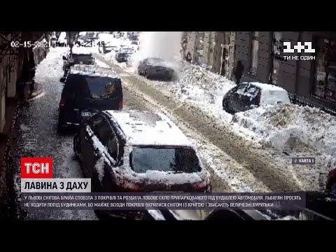 Новости Украины: во Львове снег упал с крыши и разбил припаркованный автомобиль