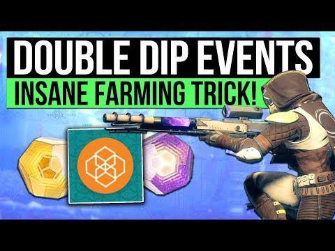 DESTINY 2   INSANE PUBLIC EVENT FARM! - Double Dip Events, Exotic Engram & Flashpoint Farming Trick!