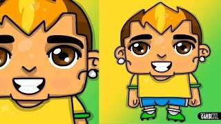 How to Draw Neymar da Silva Santos Junior   Chibi Drawings by Garbi KW
