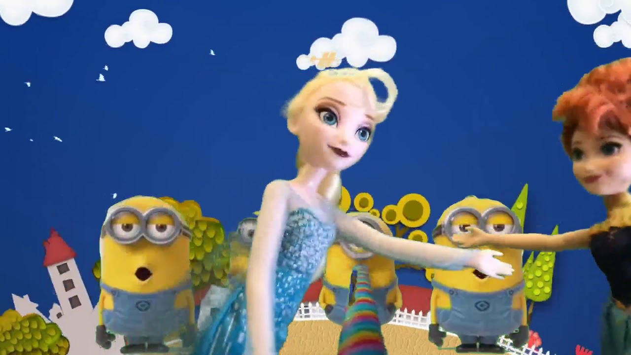 Playing Elsa Ana Frozen chocolate Disney Princesses and Minions ...