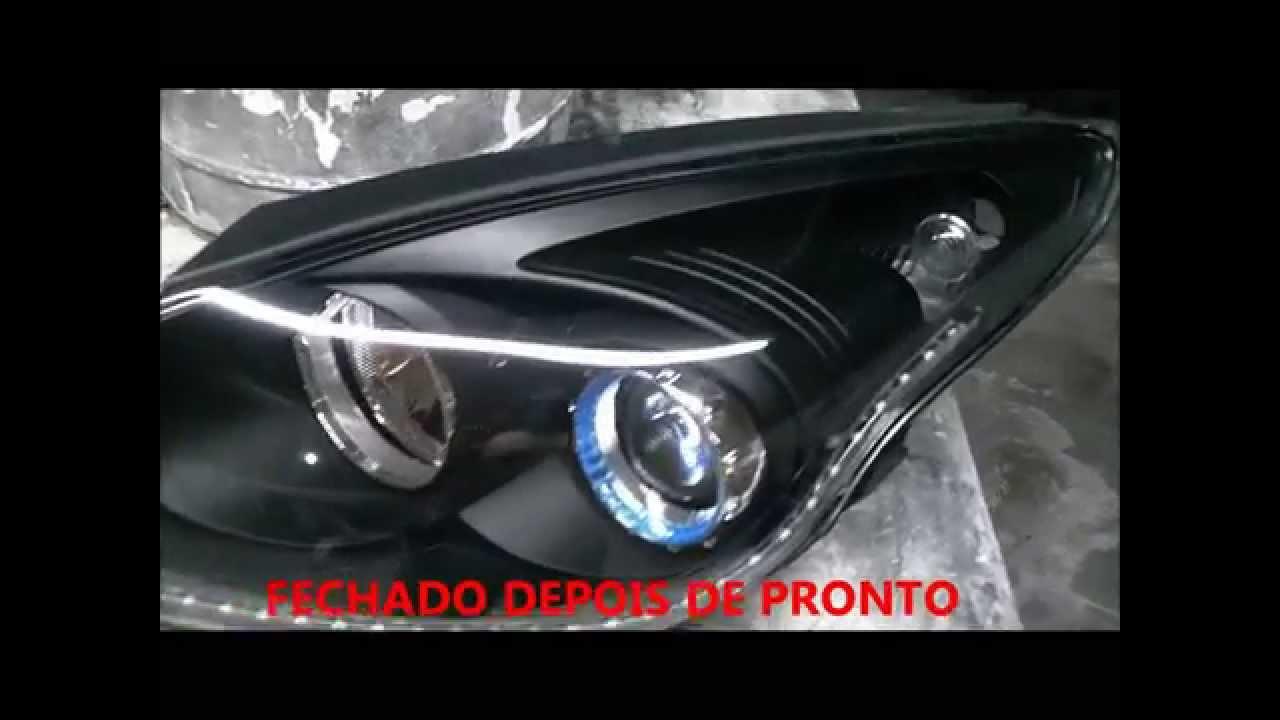 Mascara Negra Com Leds Tipo R8 No Farol Do Hyundai I30 J 225