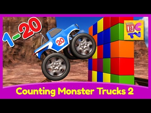 Counting Monster Trucks 2 | Learn to count from to 1 to 20 for Kids
