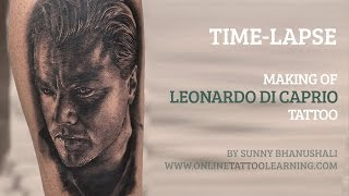 Making of Leonardo Portrait Tattoo - Time Lapse - Tattoo Learning Program